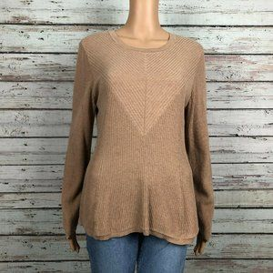 H By Halston Tan Ribbed Pullover Knit Sweater